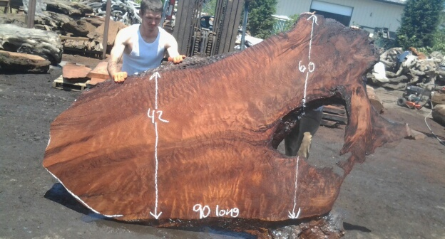 Redwood Headboard Slab ~ Beautiful Curly Grain