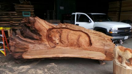 Redwood Bench With Bear Carving