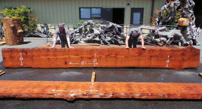 "Redwood Slab for Narrow Kitchen Island or Bar Top - CT-312 20+' x 23"" x 3"""
