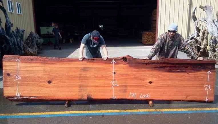 Redwood Planks and Slabs for Butcher Block Countertops