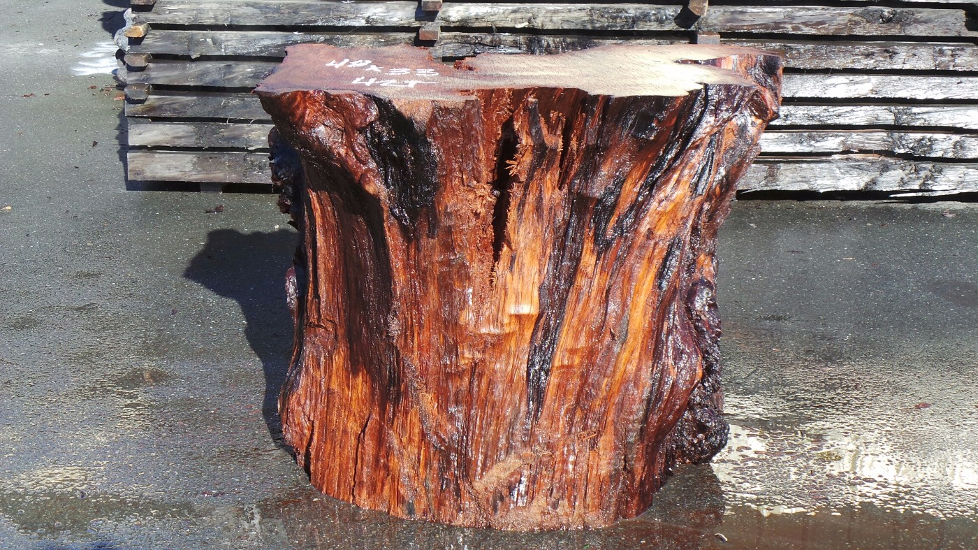 Solid Surface Table Base - Reclaimed Redwood
