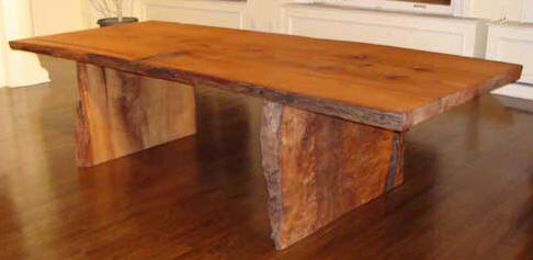 Rustic Redwood Slab table with Redwood Slab Base
