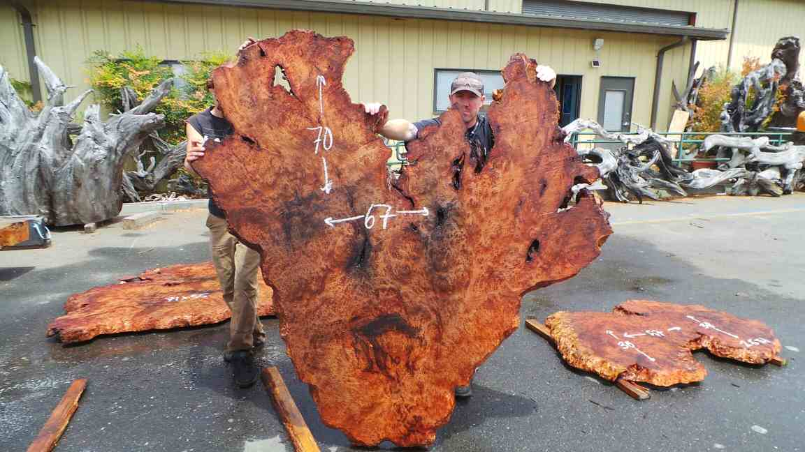 Redwood Lace Burl Wood Heart Bed Board