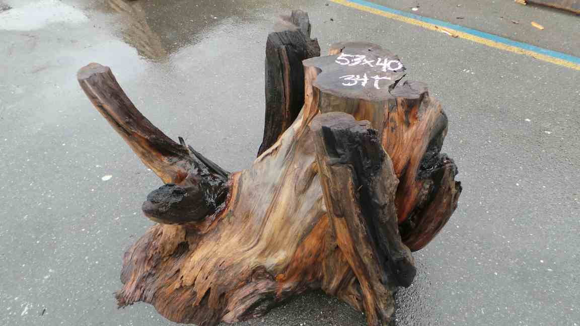 Redwood base for coffee table or small dining table