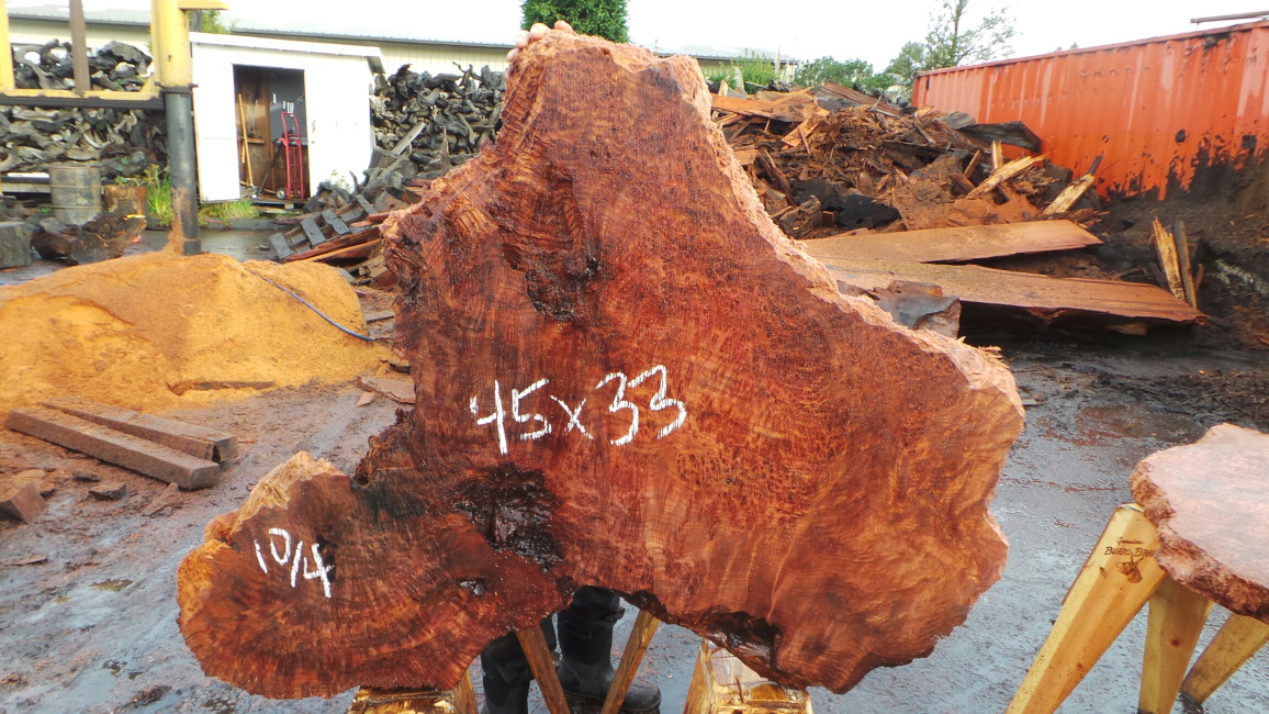 Uniquely shaped redwood slab