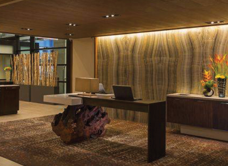 Redwood Tree Stumps as Hotel Desk Lobby Support